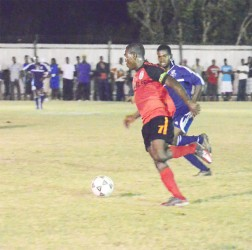 Slingerz' captain Dwain Jacobs about to score the winning goal.