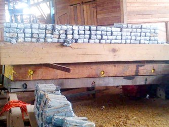 Some of the parcels of cocaine that were found in hollowed out timber logs which were being prepared for shipment to The Netherlands. They indicate meticulous preparation.