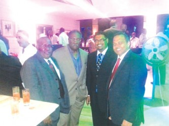 Members of the Guyana delegation to the launch of the Caribbean Premier League T20 tournament held in Barbados last week are from left, Michael Brotherson, Clive Lloyd, Irfaan Ali and Dr. Frank Anthony.