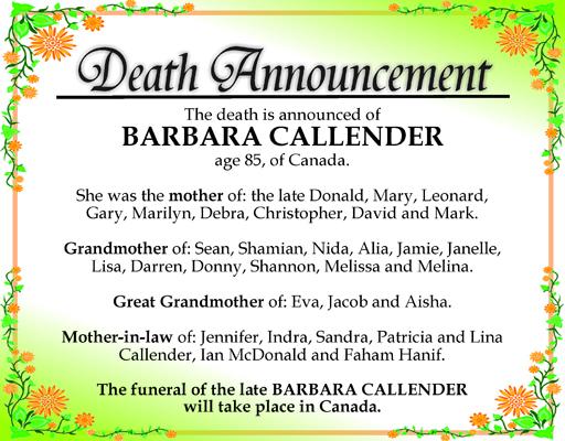BARBARA CALLENDER