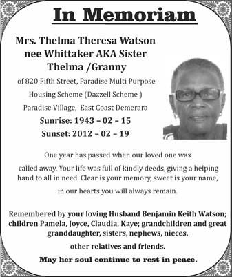 Thelma Watson nee Whittaker aka Sister Thelma / Granny