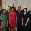 President-elect Anthony Carmona, third from left, takes a group photo with his wife Reema Harrysingh-Carmona, centre, House Speaker Wade Mark, third from right, and family members after he received his instrument of election in the Diplomatic Reception Lounge, Office of the Parliament, at Tower D, Port of Spain International Waterfront centre. From left are Dr Nandi Harrysingh, brother-in-law, Cheryll Foster, sister, Felecita Gregoire, sister, and Desmond Dickie, uncle. (Trinidad Express photo)