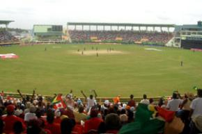 Fans enjoying cricket at the National stadium in Grenada