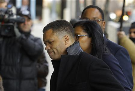 Former Chicago congressman Jesse Jackson Jr. (C) enters the U.S. District Federal Courthouse in Washington February 20, 2013.  Credit: Reuters/Gary Cameron