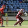 Ramnaresh Sarwan cuts en route to his unbeaten 120 in the second ODI here Sunday. (Photo courtesy WICB)