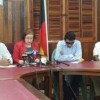 From left at the PPP press conference are Romel Roopnarine, Zulfikar Mustapha, Gail Teixeira, Anil Nandlall, Ganga Persaud and Juan Edghill