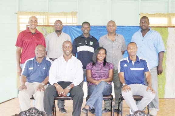 Seated l-r Troy Peters, Alfred King, Natasha Lewis and Dion Inniss. Standing l-r Stanley Lancaster, Carlos Bernard, Sherwin Moore, Dwayne Lovell and Ingram Johnson.  (See story on page 26)