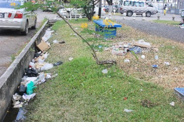 Main Street was littered with garbage deposited by the floodwater
