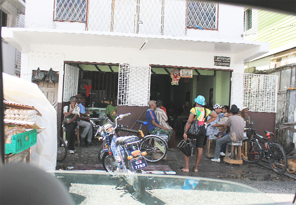 This was the scene at a Bourda Market drinking spot during early afternoon hours.