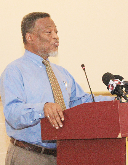 Prime Minister Samuel Hinds speaking at yesterday's Guyana Power and Light (GPL) media engagement 2013 programme.