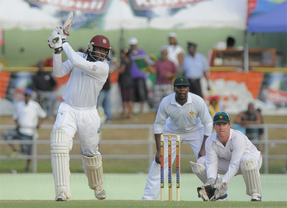 Chris Gayle on the go during his unbeaten half century yesterday. WICB Media Photo/Randy Brooks.
