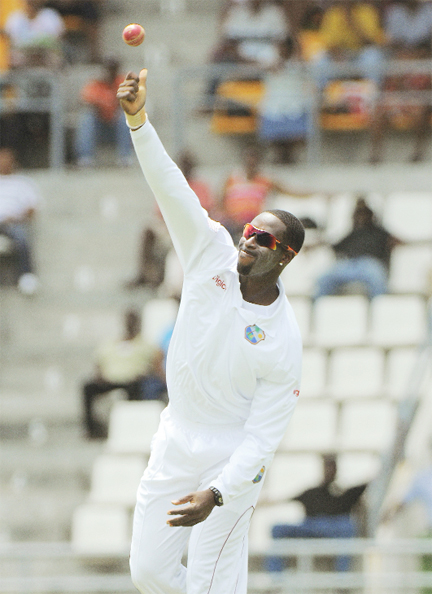 West Indies off-spinner Shane Shillingford took five wickets to bowl out Zimbabwe on Day 1 of the 2nd Test at Windsor Park, Dominica yesterday. WICB Media Photo/Randy Brooks.