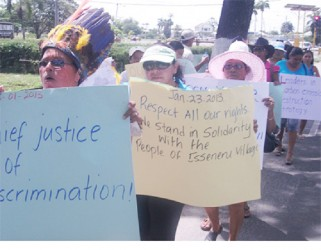 Isseneru villagers during a protest outside the Office of the President on January 25th to voice their dissatisfaction over a recent court ruling that upheld a miner's right to progress with operations on lands within the village. (Stabroek News file photo)