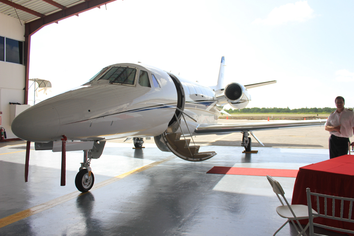 The Cessna Citation XLS+ jet in a hangar at Ogle after being flown here from Miami yesterday (Photo by Arian Browne)