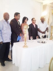 Proprietors of the Millennium Manor Hotel, Yonette and Lancelot Bacchus (third and fourth from left respectively) flanked by Bobby Vieira (left), Minister of Tourism Irfaan Ali (second from left) and Minister of Public Works Robeson Benn at the opening last night.