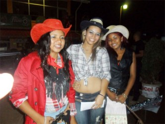 From left: Anna Parker, Miss Rupununi Rodeo; Juliana, first runner-up and Anessa Malcolm, second runner-up