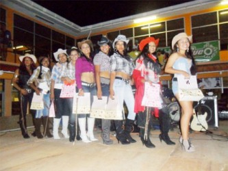 The nine contestants of the Miss Rupununi Rodeo Pageant 2013