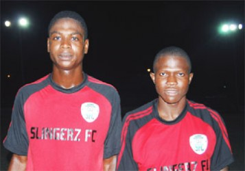 Slingerz goal scorers Quason Mc Auley and Olvis Mitchell.