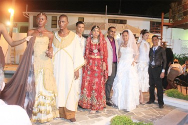 Models showcasing cultural wedding attire at the Wedding Expo at Duke Lodge last evening (Arian Browne photo)