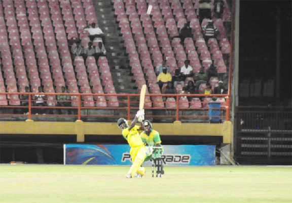 Nikita Miller hits a six off the last ball of the match to send Guyana crashing out of the limited overs competition. (Orlando Charles photo)