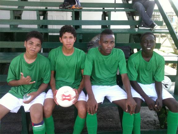 School of the Nation goal scorers, Wellerson Menez, Carlos Oviedo, Tarlee Taitum and Lyndon Dorway.