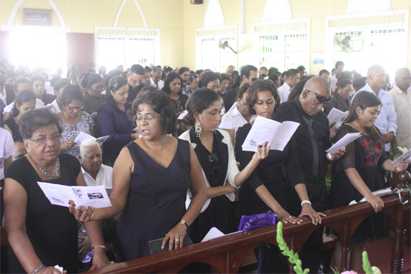 Family members and others at the church service
