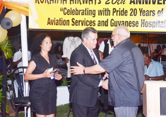Roraima CEO Captain Gerry Gouveia and General Manager Captain Debbie Gouveia with President Donald Ramotar