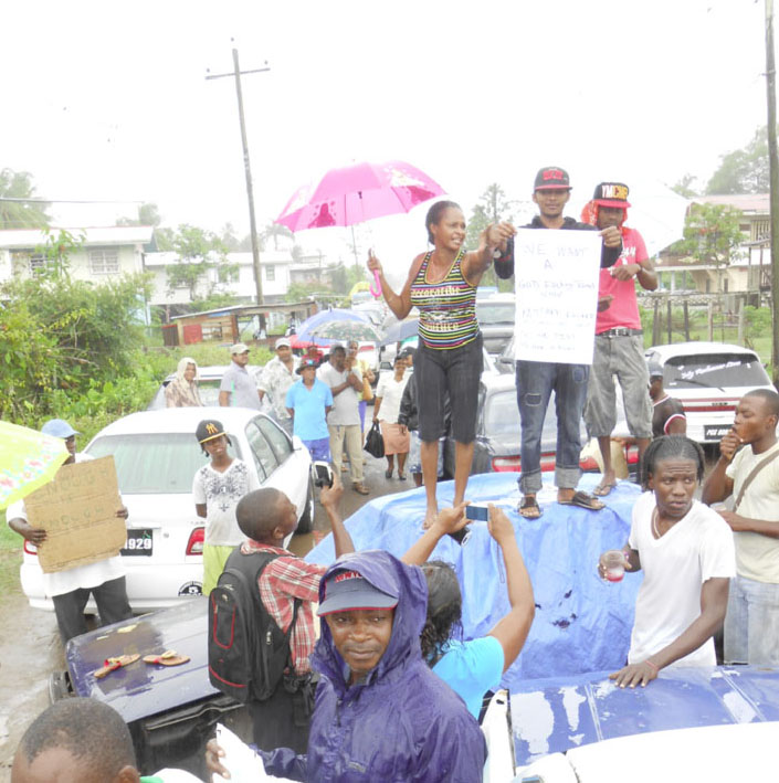 Some of the protestors demonstrating on the EBB public road