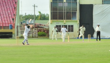 Jermaine Blackwood drives Ronsford Beaton over the top for a boundary