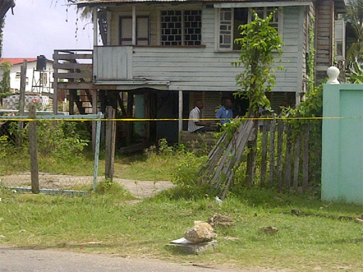 The crime scene: It is believed that Millicent Prince-Cummings was dragged beneath the house from the roadway and sexually assaulted before being beaten to death.