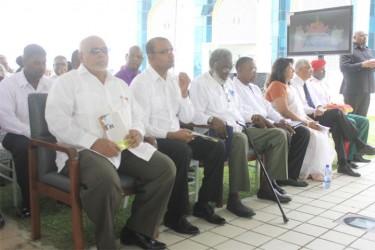 From left are President Donald Ramotar, former President Bharrat Jagdeo, Dr Roger Luncheon, Robert Corbin and Chandra Gajraj