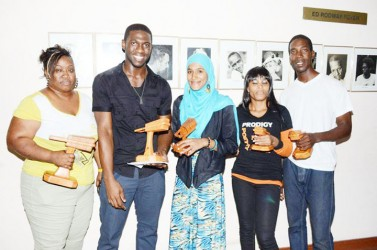 From left: Slam Champ Rochelle Christie, first runner-up Yerredin Akeel Bowen, third runner-up Salimah Husain, fourth runner-up Latoni Beaton and second runner-up Randolph Critchlow.