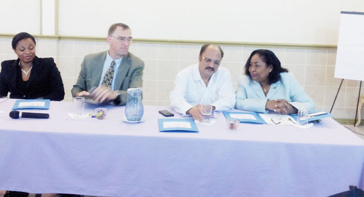 From left Sonya LeMaitre, Human Resources Consultant & Trainer of the National Centre for persons with Disabilities (NCPD) in Trinidad and Tobago; Adrianus Vlugman, PAHO/WHO Representative; Dr. Bheri Ramsaran, Minister of Health and Dr. Beverly Beckles, CEO of the NCPD.
