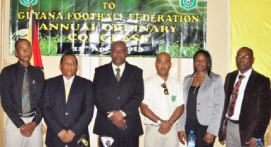 NEW BODY! The new executive of the GFF from left, Keith O'Jeer, Ivan Persaud, Christopher Matthias, Collie Hercules, Vanessa Dickenson and Raulston Adams. (Orlando Charles photo)