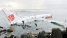 The Lion Air plane after landing in the sea (BBC)