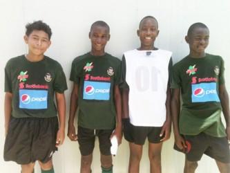 Charlestown scorers (L-R), Ixos Da Silva, Shawn Spencer, Samuel Mitchell and Anthony Bartholomew.