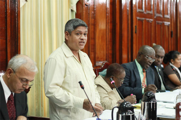 APNUMP Jaipaul Sharma speaking in parliament yesterday