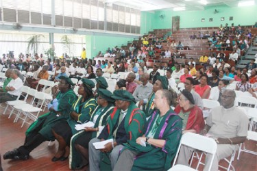 A section of the audience at the University of Guyana's interfaith ceremony to celebrate its 50th anniversary