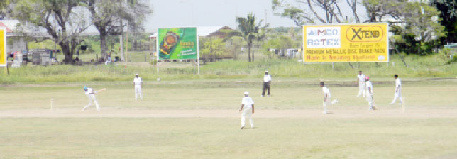 Action in the U15 Inter-County game between Demerara and Berbice yesterday.