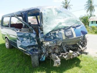 The badly mangled minibus