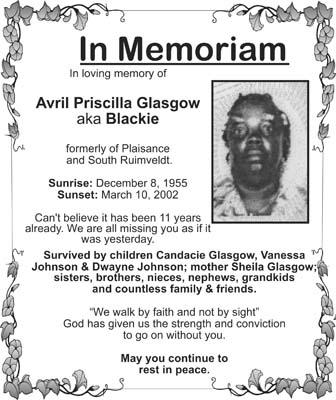 Avril Glasgow aka Blackie