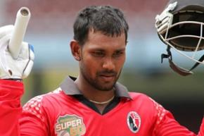 T&T captain Denesh Ramdin celebrates his maiden regional one-day hundred on Sunday. (Photo courtesy WICB)
