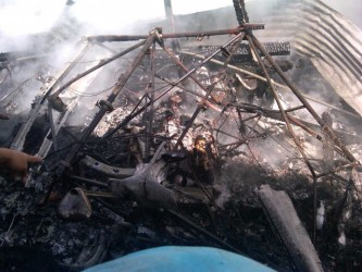 The burnt interior of the plane
