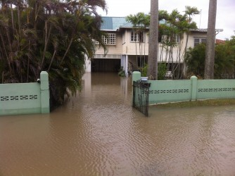 Water completely encroached on these East Coast premises
