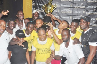 Silver Bullets in a celebratory mood after winning the Linden edition of the Guinness Greatest of the Streets Football Competition (Photo by Orlando Charles)