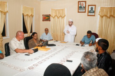 Director Education CIOG Shaykh Moeenul Hack (standing) addresses the TIP meeting at Bartica on Tuesday last (Photo courtesy of CIOG)