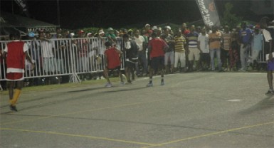 Action during Wednesday night's third annual Mackeson 'Keep Your Five Alive' knockout football competition at California Square, East Ruimveldt.