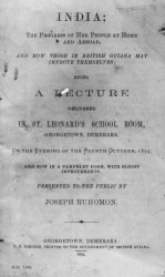 Cover of printed copy of a lecture given by Joseph Ruhoman in 1894 on Indian development