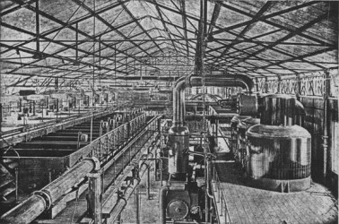 Interior of a sugar factory circa 1889