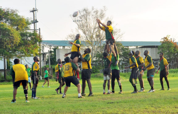 Action during Saturday's trial game at the National Park's Rugby field. (Orlando Charles photo)
